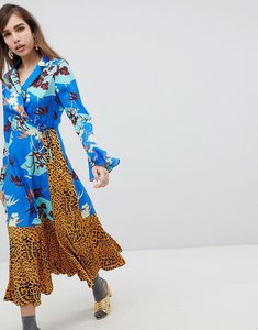 Read more about Asos design mix print wrap maxi dress with fluted sleeve - multi
