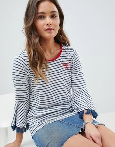 Read more about Nocozo stripe top with fringe sleeve and embroidered slogan - navy white