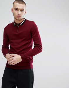 Read more about Asos knitted polo with zip neck contrast tipping in burgundy - burgundy