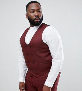 Read more about Asos design plus wedding skinny suit waistcoat in wine micro texture - red