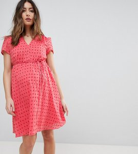 Read more about Glamorous bloom mini tea dress with tie waist in ditsy rose - coral rose bud