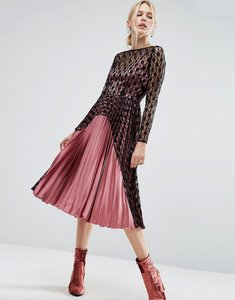 Read more about Asos contrast lace and pleat midi dress in satin - multi