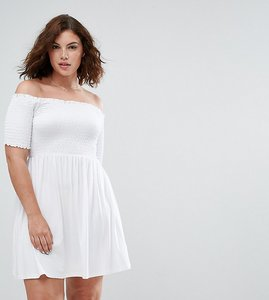 Read more about Asos curve off shoulder sundress with shirring - white