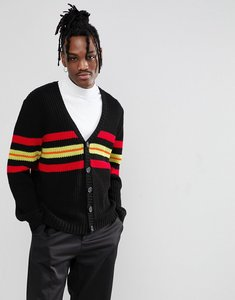 Read more about Asos cardigan in relaxed fit with stripe design in black - black