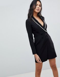 Read more about Asos pearl tux mini dress with wrap skirt - black