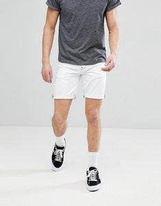 Read more about Asos design denim shorts in slim white contrast stitch - white