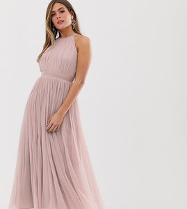 Read more about Anaya with love tulle halterneck midaxi dress with satin trim in soft pink