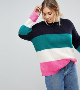 Read more about Asos curve chunky jumper in bright block stripe - multi