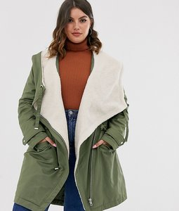 Read more about Asos design curve waterfall parka with borg lining in khaki