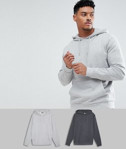 Read more about Asos design hoodie 2 pack charcoal grey marl - charcoal grey marl