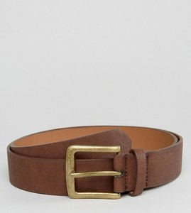 Read more about Asos plus wide belt in brown faux leather with vintage gold buckle - brown