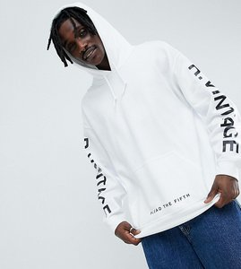 Read more about Reclaimed vintage inspired oversized logo hoodie in white - white