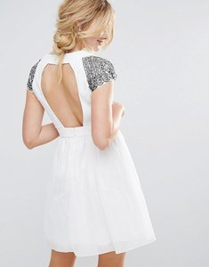 Read more about Little mistress exposed back embellished prom dress - cream