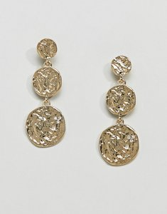 Read more about Pieces hammered gold plated disc earrings - gold