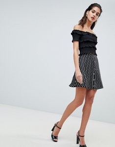 Read more about Missguided polka dot popper detail skater skirt - black