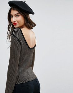 Read more about Asos jumper in metallic with low back - black