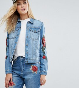 Read more about Kubban tall floral embroidered slim denim jacket - mid blue