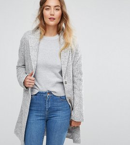 Read more about Asos tall fabric interest cocoon coat - grey
