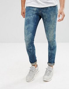 Read more about Asos extreme super skinny jeans in mid wash random bleach - mid wash blue