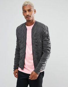 Read more about Asos knitted quilted oversized bomber in charcoal - charcoal