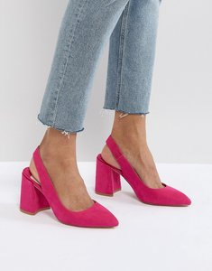 Read more about Faith chunky slingback block heeled shoes - pink