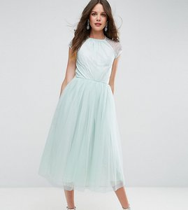 Read more about Asos tall premium lace tulle midi prom dress - mint