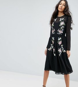 Read more about Asos tall premium pretty embroidered midi dress on dobby - black