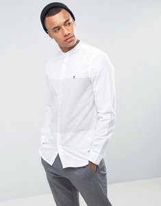 Read more about French connection slim fit grandad shirt with horizontal stripe - grey