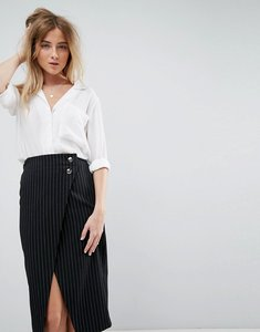 Read more about Asos open neck blouse with oversized pocket - ivory