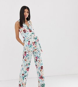 Read more about Little mistress tall wrap front jumpsuit in multi floral print