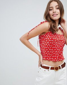 Read more about Miss selfridge cami top in floral print with tie straps - red print