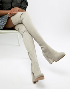 Read more about Asos design kassidy heeled over the knee boots - grey