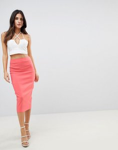 Read more about Asos design high waist longerline pencil skirt - coral