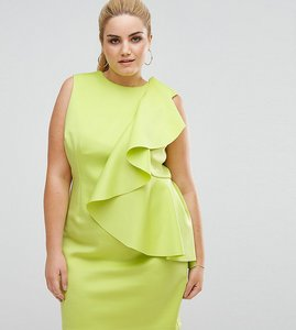 Read more about Asos curve mini dress with structured scuba ruffle - lime