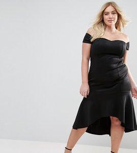 Read more about Club l plus bardot peplum hem dress - black
