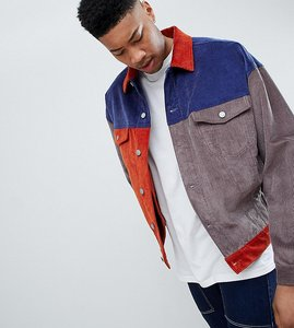 Read more about Asos design tall oversized cord jacket in colourblock navy - navy