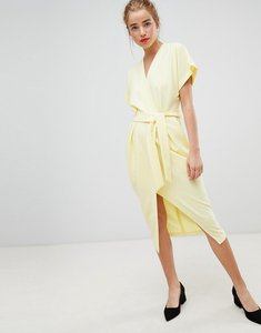 Read more about Closet london short sleeve tie front dress in lemon yellow - lemon
