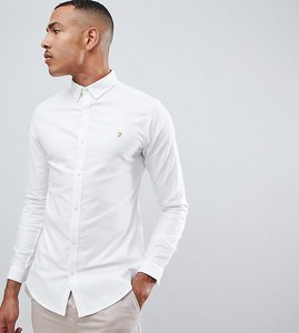 Read more about Farah sanfers skinny fit buttondown oxford shirt in white - white