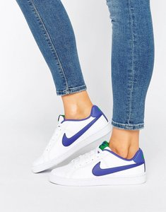 Read more about Nike court royale trainers in white and blue - multicolour