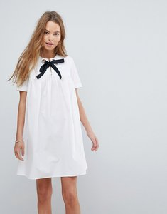 Read more about Asos smock dress with eyelet detail and grosgrain tie - white