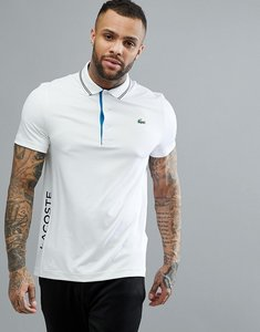 Read more about Lacoste sport croc logo twin tipped polo in white - ptk