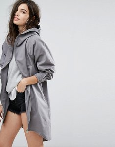 Read more about Missguided vintage wash oversized hooded parka - grey