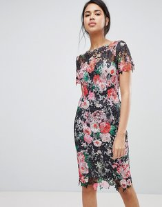 Read more about Paper dolls all over floral printed lace pencil dress - multi