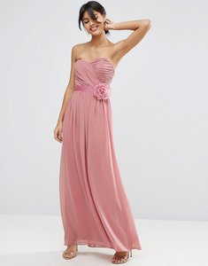 Read more about Asos wedding chiffon bandeau maxi dress with detachable corsage - rose pink