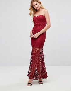 Read more about Liquorish strapless maxi dress in lace - wine