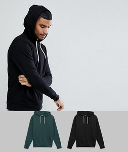 Read more about Asos hoodie 2 pack black green save - black cactus