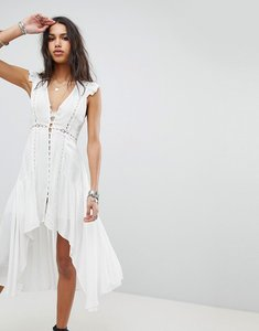 Read more about Ebonie n ivory button up tea dress with asymmetric hem - cream