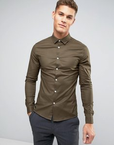 Read more about Asos smart skinny oxford shirt in khaki - khaki