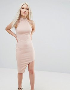 Read more about Ax paris high neck asymmetric bodycon dress - blush