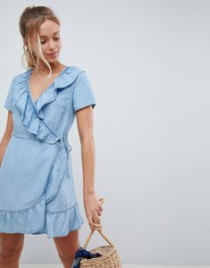 Read more about Asos design denim wrap dress with frill detail - blue